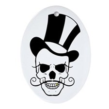 SKULL and TOP HAT Oval Ornament