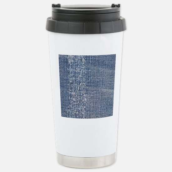 Worn-out Denim Jeans Stainless Steel Travel Mug