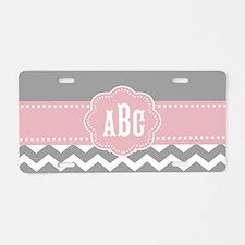 Gray Pink Chevron Monogram Aluminum License Plate
