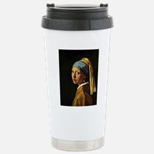 The Girl with a Pearl E Stainless Steel Travel Mug