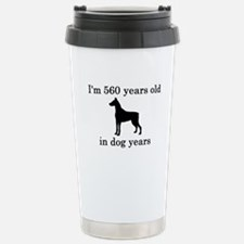 80 birthday dog years doberman Travel Mug