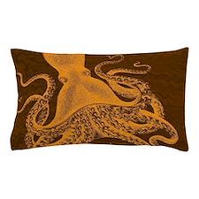 Exquisite Orange Vintage Octopus on brown marbling