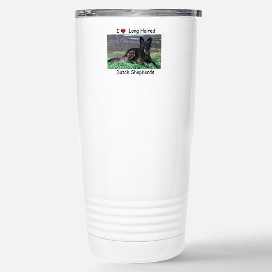 Long Hair Dutch Shepher Stainless Steel Travel Mug