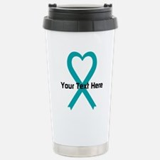 Personalized Teal Ribbon Heart Travel Mug
