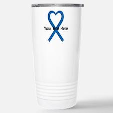Personalized Blue Ribbo Stainless Steel Travel Mug