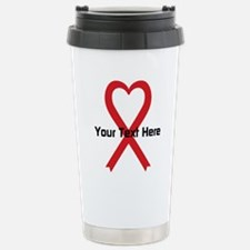 Personalized Red Ribbon Stainless Steel Travel Mug
