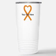 Personalized Orange Rib Stainless Steel Travel Mug