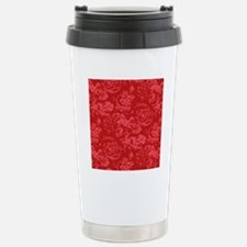Red Floral Pattern Stainless Steel Travel Mug