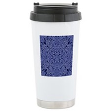 dark blue floral  Travel Mug
