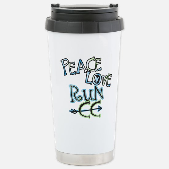 Peace Love Run CC Stainless Steel Travel Mug