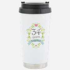 34th Anniversary flower Stainless Steel Travel Mug