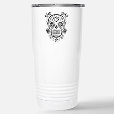 Black Sugar Skull with Roses Travel Mug