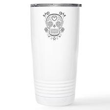 Gray Sugar Skull with Roses Travel Mug
