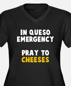 Queso Emerge Women's Plus Size V-Neck Dark T-Shirt