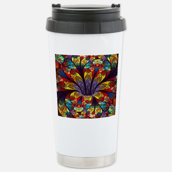 Fractal Stained Glass B Stainless Steel Travel Mug