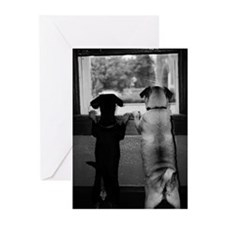 dogs bw Greeting Cards