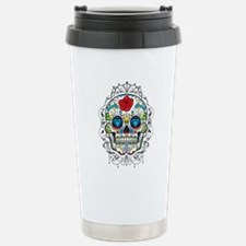 Colorful Retro Floral Sugar Skull Red Rose Stainle