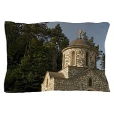 The old church below the Bran Castle a Pillow Case