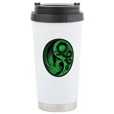 Green and Black Dragon Phoenix Yin Yang Travel Mug