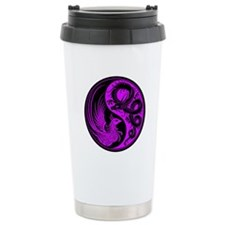 Purple and Black Dragon Phoenix Yin Yang Thermos Mug
