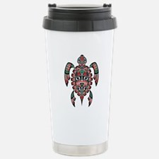 Red Green and Black Haida Sea Turtle Travel Mug