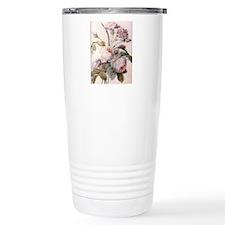 Vintage pink rose  flow Travel Mug