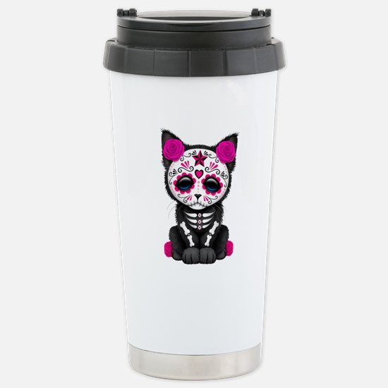 Cute Pink Day of the Dead Kitten Cat Stainless Ste