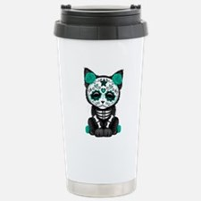 Cute Teal Day of the Dead Kitten Cat Travel Mug