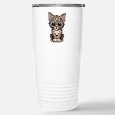Cute Tabby Kitten with Eye Glasses Travel Mug