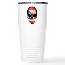 Puerto Rico Flag Skull Travel Mug