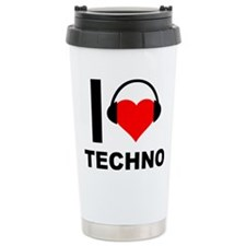 I Love Techno Music Heart Headphones Travel Mug