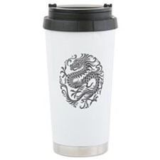 Traditional Gray Chinese Dragon Circle Travel Mug