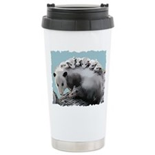 Possom Family on a Log Travel Mug