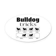 Bulldog Tricks Oval Car Magnet