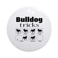 Bulldog Tricks Round Ornament