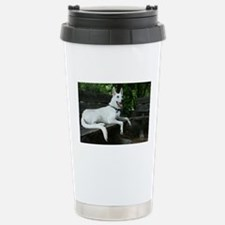White Shepherd On A Park Bench Travel Mug