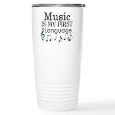 Music is my first Language Travel Mug