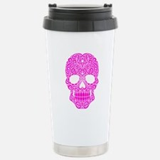 Pink Swirling Sugar Skull Travel Mug