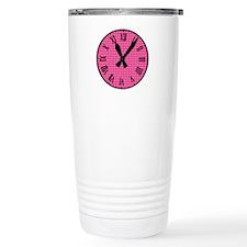 Pink hearts clock Travel Mug