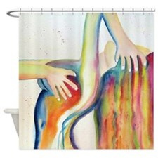 Watercolor Girl Bathing Shower Curtain