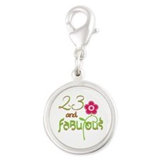 23 and Fabulous Silver Round Charm