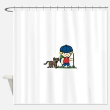Hiker Dog Shower Curtain