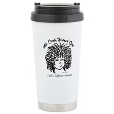 Curly Haired Girl Travel Coffee Mug