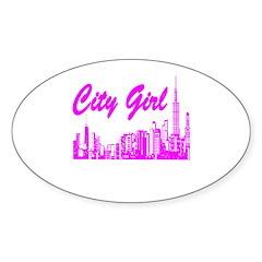 City Girl Oval Sticker