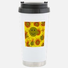 Sunflowers Smiley Faces Stainless Steel Travel Mug