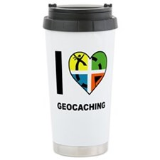 I Love Geocaching Geocache Heart Travel Mug