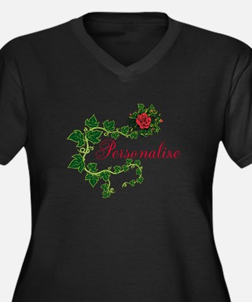 Personalizab Women's Plus Size V-Neck Dark T-Shirt