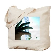 Live insect specimen held in front of ins Tote Bag