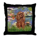 Lilies and Ruby Cavalier Throw Pillow
