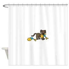Dog Fish Catch Shower Curtain